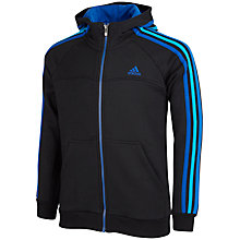 Buy Adidas Boy's Essentials 3 Stripes Full-Zip Hoodie, Black/Blue Online at johnlewis.com