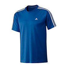 Buy Adidas Essentials 3 Stripe Crew T-shirt, Blue/White Online at johnlewis.com