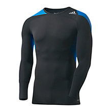 Buy Adidas Techfit Cool Long Sleeve T-shirt, Black/Blue Online at johnlewis.com