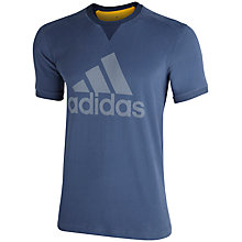 Buy Adidas Essentials Logo T-Shirt, Blue Online at johnlewis.com