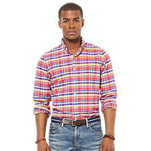 Buy Polo Ralph Lauren Check Long Sleeve Shirt, Red/Blue Online at johnlewis.com
