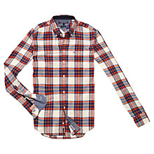 Buy Tommy Hilfiger Cotton Check Shirt, Red/White Asparagus Online at johnlewis.com