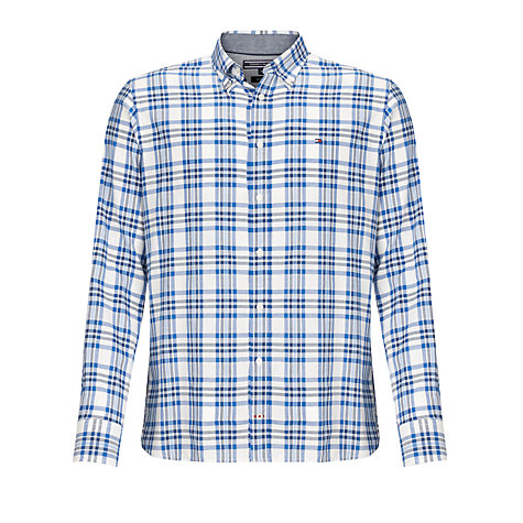 Buy Tommy Hilfiger Senna Check Long Sleeve Shirt, Blue/White Online at johnlewis.com