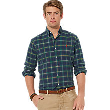 Buy Polo Ralph Lauren Check Long Sleeve Shirt, Green/Blue Online at johnlewis.com