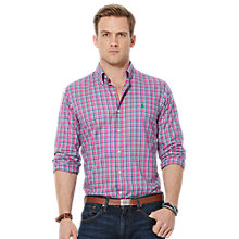 Buy Polo Ralph Lauren Windowpane Check Oxford Shirt, Magenta Online at johnlewis.com