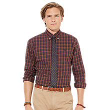 Buy Polo Ralph Lauren Custom Fit Long Sleeved Check Shirt, Maroon Online at johnlewis.com