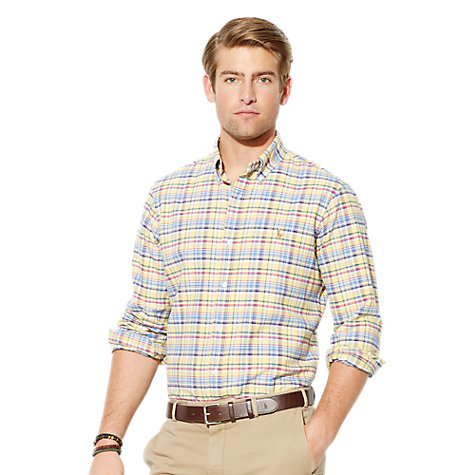 Buy Polo Ralph Lauren Long Sleeve Slim Oxford Shirt, Yellow Multi Online at johnlewis.com