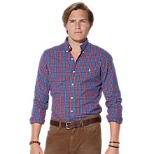 Buy Polo Ralph Lauren Cotton Checked Shirt, Blue / Red Online at johnlewis.com