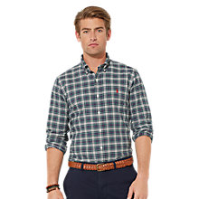 Buy Polo Ralph Lauren Cotton Checked Shirt, Green/Navy Online at johnlewis.com