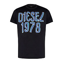 Buy Diesel T-Elist Cotton T-Shirt, Black Online at johnlewis.com