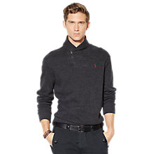 Buy Polo Ralph Lauren Jersey Shawl Neck Pullover, Black Marl Heather Online at johnlewis.com