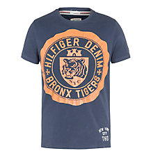 Buy Tommy Hilfiger Bronx Tigers Logo T-Shirt, Black Iris Online at johnlewis.com