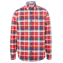 Buy Original Penguin Newey Long Sleeve Check Shirt, Tango Red Online at johnlewis.com