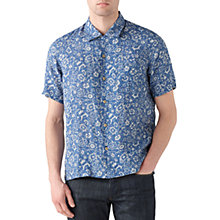 Buy Jigsaw Floral Linen Short Sleeve Shirt, Chambray Online at johnlewis.com
