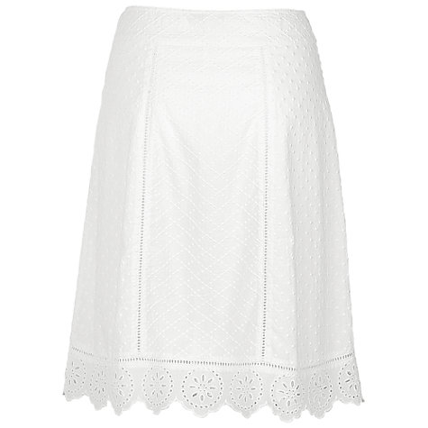 Buy Fat Face Clare Panel Broderie Skirt, White Online at johnlewis.com