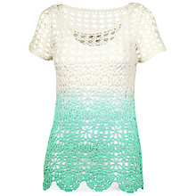 Buy Fat Face Sea Breeze Dip-dye Crochet Jumper, Sea Green Online at johnlewis.com