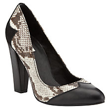 Buy Somerset By Alice Temperley Groves Leather Court Shoes, Black / White Online at johnlewis.com
