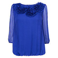 Buy Phase Eight Rosette Silk Blouse, Periwinkle Online at johnlewis.com