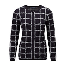Buy Viyella Petite Check Square Cardigan, Navy Online at johnlewis.com