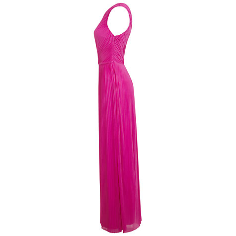 Buy Miss Selfridge One Shoulder Pleated Maxi Dress, Pop Pink Online at johnlewis.com
