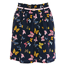 Buy Oasis Butterfly Print Paperbag Skirt, Navy Online at johnlewis.com