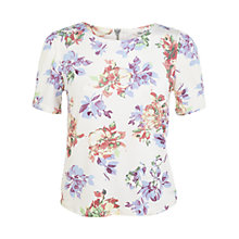 Buy Miss Selfridge Floral Tee, Cream Online at johnlewis.com