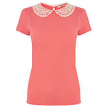 Buy Oasis Crochet Collar T-Shirt Online at johnlewis.com