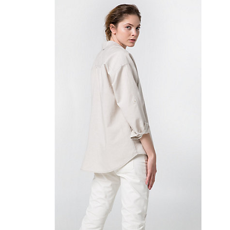Buy Mango Linen-Blend Oversize Shirt, Light Beige Online at johnlewis.com