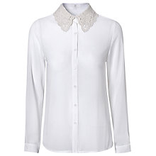 Buy True Decadence Crochet Collar Shirt, Cream Online at johnlewis.com