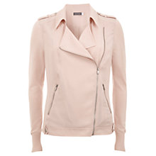 Buy Mint Velvet Soft Biker Jacket, Pale Pink Online at johnlewis.com