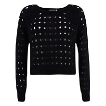 Buy Mint Velvet Crop Holey Knit, Black Online at johnlewis.com