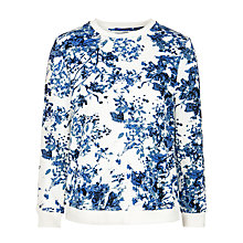 Buy Minimum Marie Floral Print Sweatshirt, White & Blue Online at johnlewis.com