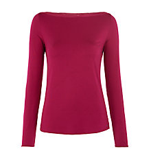 Buy Calvin Klein Icon Long Sleeve Boat Neck Top, Cabernet Online at johnlewis.com