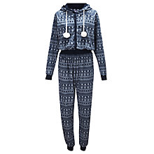 Buy John Lewis Fairisle Print Fleece Onesie, Navy Online at johnlewis.com
