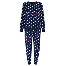 Buy John Lewis Heart Print Fleece Pyjama Set, Navy / White Online at johnlewis.com