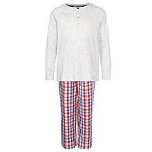 Buy John Lewis Boys' Check Bottom Henley Pyjamas, Grey/Red Online at johnlewis.com