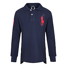 Buy Polo Ralph Lauren Boy's Long Sleeve Polo Shirt, Navy Online at johnlewis.com