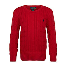 Buy Polo Ralph Lauren Boys' Long Sleeve Cable Knit Jumper, Red Online at johnlewis.com