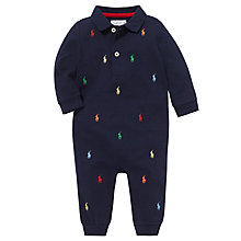 Buy Polo Ralph Lauren Baby Multi-Logo Romper, Navy Online at johnlewis.com