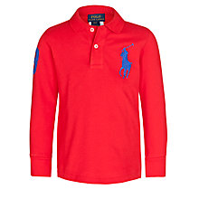 Buy Polo Ralph Lauren Boys' Big Pony Long Sleeve Polo Shirt, Red Online at johnlewis.com
