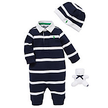 Buy Polo Ralph Lauren Baby Rugby Romper Gift Set, Set of 3, Navy/White Online at johnlewis.com