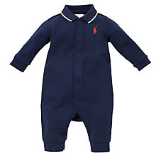 Buy Polo Ralph Lauren Baby Polo Romper, Navy Online at johnlewis.com