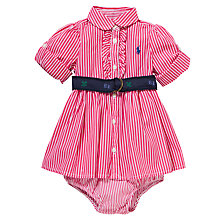 Buy Polo Ralph Lauren Baby Bengal Stripe Shirt Dress, Pink Online at johnlewis.com