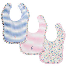 Buy Polo Ralph Lauren Baby Ruffle Edge Bibs, Pack of 3, Multi Online at johnlewis.com