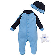 Buy Polo Ralph Lauren Baby Shawl Sleepsuit Gift Set, Set of 3, Blue Online at johnlewis.com