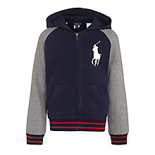 Buy Polo Ralph Lauren Boys' Full Zip Hoody, Navy/Grey Online at johnlewis.com