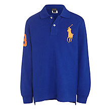Buy Polo Ralph Lauren Boys' Long Sleeve Polo Shirt, Blue Online at johnlewis.com