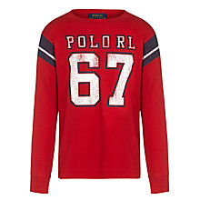 Buy Polo Ralph Lauren Boys' Graphic Long Sleeve T-Shirt, Red Online at johnlewis.com