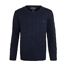 Buy Polo Ralph Lauren Boys' Cable Knit Jumper, Navy Online at johnlewis.com