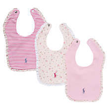 Buy Polo Ralph Lauren Baby Ruffle Edge Bibs, Pack of 3, Pink Online at johnlewis.com